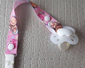 """It's a girl"" grosgrain Ribbon pacifier clip pink 22 cm"