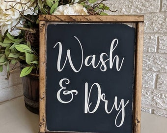 "Framed wooden ""Wash & Dry"" Sign/Farmhouse Sign/Laundry Sign/Rustic Sign/Laundry Room/Wash Room"