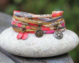 Boho bracelet, floral bracelet, betsy fluorescent tea, 2 bracelet, aum / ohm squash gray bronze
