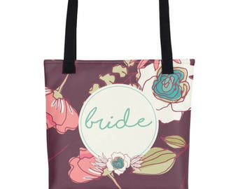 Floral Tote For Bride | Bride To Be Tote | Totes For The Bride | Bride Tote Bag | Wedding Day Tote Bag | Floral Wedding Tote | Bridal Totes