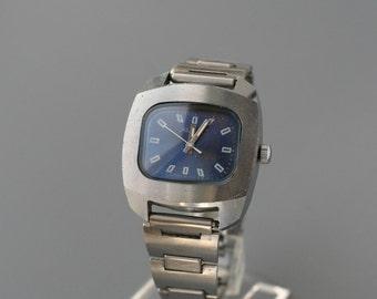 RAKETA watch, soviet watch, retro watch, men's watch, vintage watch, wristwatch ussr cal 2609.HA, blue dial watch