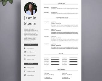 1 Page Resume Template. Professional Resume Template for Word and Pages. Modern Resume Template, Resume With Photo, 1 Page CV Template.