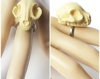 ring faux skull cat ivory 3d adjustable taxidermy replica resin anatomy animal gothic pagan occult macabre witch witchy witchcraft dark