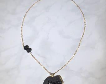 Large Black Druzy Lava  Bead Necklace