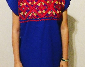 S-M Blue Mexican Embroidered Blouse