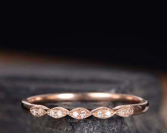 Rose Gold Wedding Band Women Art Deco Marquise Diamond Band Half Eternity Stackable Bridal Promise Ring Unique Anniversary Gift Delicate