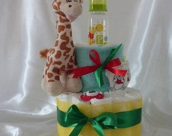 Diaper - cake my friend the little giraffe - Diaper cake - birth cake