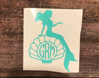 Mermaid Monogram Sticker Decal | Mermaid Monogram | Mermaid Decal Sticker | Hydroflask Sticker | Vinyl Decal