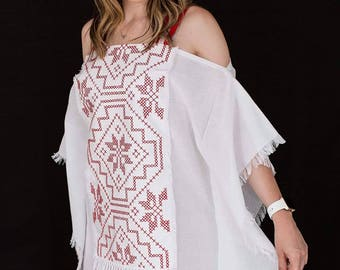 Summer White Embroidery Dress 100% Linen