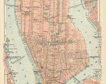 Vintage New York Map Etsy - Usa map new york