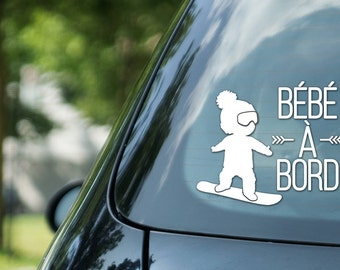 Bébé à bord sign snowboarding, boy on snowboard, vinyl on decal paper, car decal, kid on board