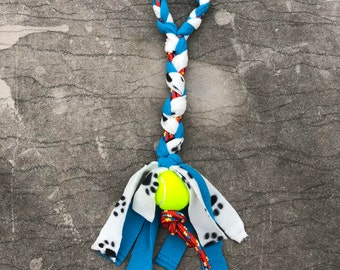 Braided Fleece and Rope Tug Toy with Tennis Ball