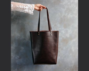 Tote bag Tote bag with pockets Tall leather tote bag - Dark Brown leather - Hand stitched shopper bag - full grain leather tote bag