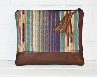 Large, repurposed, brown leather clutch, clutch, navajo bag, leather bag, makeup bag, travel bag, recycled, leather, handmade, zipper pouch