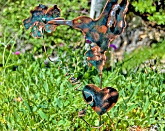 Hummingbird Garden Decor Hummingbird Art, Yard Decor Outdoor Decor Garden, Hummingbird Copper Garden Stake, Garden Stake Art,
