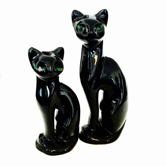 "Black Cat Figurine 8"", 1960s ceramic cat, Black Ceramic Cat, Retro Kitsch, 50s home decor, 1950s pussy Cat, 60s black cat, Mid Century home"