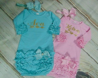 Newborn Layette Sets- Personalized Two Piece Layette Sets- Take Home Outfits