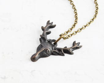 Rustic Deer Necklace, Small Black Stag Pendant on Antiqued Brass Chain, Oxidized Patina Necklace, Winter Woodland Jewelry