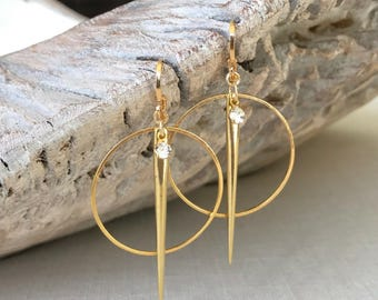 Large Spike Hoops in Gold or Silver