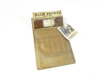 Vintage Clipboard Calendar / Miller Brothers Detroit Advertising Metal Clipboard / Mid Century Office Supply