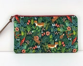 Tiger Purse - Jungle Print Pencil Pouch - Green Pouch - Rifle Paper Co Pouch - Notions Bag - Padded Zipper Pouch - Gift ideas