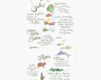 An Illustrated menu design - hand lettered & painted in watercolor - bon appetit!