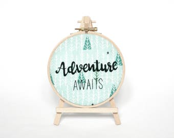 Adventure Awaits embroidery hoop art decoration Framed quote Wanderlust travel gift for her Outdoorsy decor Handmade Valentines day gift