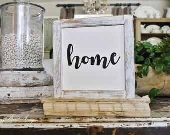 HOME Farmhouse Sign Wood Framed Chippy White Farmhouse Decor Fixer Upper Decor Salvaged Barn Wood Mini Sign