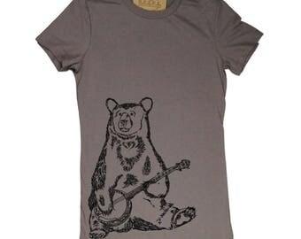 Funny Womens Shirt | Banjo Bear Tshirt | Printed Tee Shirts | Hipster Tshirt | Funny T-Shirts | Womens Tees | T Shirts for Women