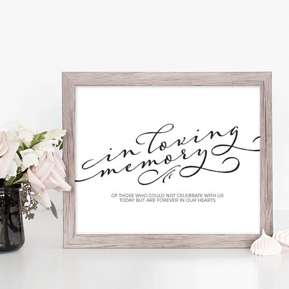 In Loving Memory Wedding Sign Printable Wedding Memory Sign Template ...