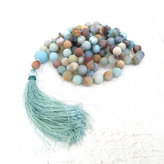 Mixed Amazonite Knotted Mala Necklace, Silk Mala Necklace, Stone Yoga Meditation Beads, 108 Bead Meditation Mala, Yoga Jewelry, Mantra Beads