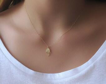 Gold Hamsa Necklace , 14K Gold Filled Evil Eye Necklace ,  hamsa Necklace , Evil Eye Necklace , Protection Necklace , Hamsa Hand Necklace