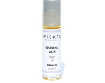 Nocturnal Vixen Perfume Oil • Natural Perfume • Non-Toxic Body Fragrance • Seductive + Wild • Jasmine, Coffee, Sandalwood, Vanilla + Rose