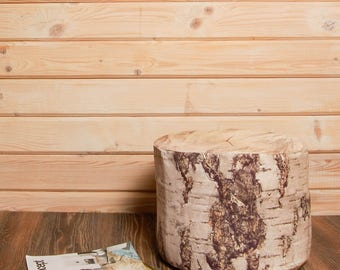 Birch Log Pouf Ottoman, woodland nursery floor pillow seating