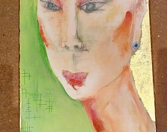 "Original Painting ""Cecilia"" on canvas by North West Artist Claire Kay. Mixed media 80x30cm"