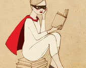 Reading is my superpower - Superhero Girl Deluxe Edition Print of original drawing