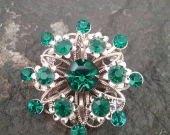 Rhinestone Brooch, Vintage Brooch, Vintage Jewelry, Green Brooch, Emerald Brooch, Emerald Rhinestone Brooch, Faux Emerald Brooch
