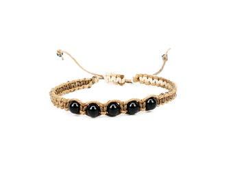 Black Onyx Bracelet, Gemstone Bracelet, Friendship Bracelet, Yoga Bracelet, Chakra Bracelet, Root Chakra Bracelet
