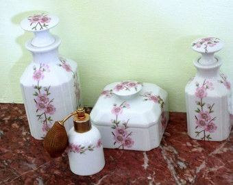 Vintage LIMOGES -4 Piece French Porcelain Vanity Set - Dresser Set - Hand Painted - Lovely Pink Floral Design - Luxury for Bed and Bath