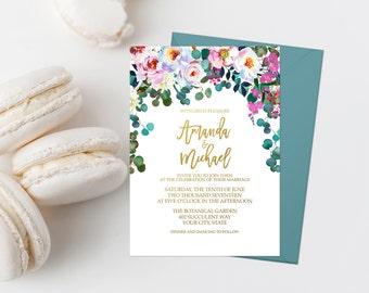 Bohemian Wedding Invitation Printable Boho Wedding Invitation Suite Pink and Teal Floral Wedding Invitation Watercolor Flowers Gold 285
