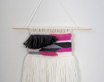 Pink, Gray, and White Woven Wall Hanging