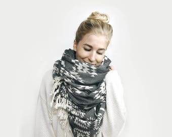 Blanket Scarf, Infinity Scarf, Tassel, Oversized, Reversible ⨯ The Carrefour ⨯ in Aztec