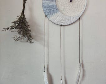 Large, White, crescent moon, dreamcatcher with healing, raw, amethyst crystal