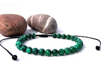 Malachite Bracelet Mens Bracelet Healing Bracelet Adjustable Bracelets heart chakra bracelet macrame bracelet green bracelet Gift For Him