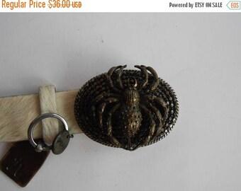 ON SALE Vintage Fur Leather Belt,White fur belt,Spider buckle belt, women's leather belt