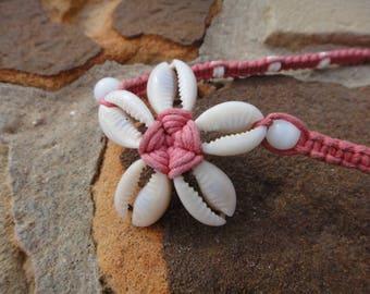 Vintage unique pink Shell Necklace Hawaiian Cowrie Shell Necklace Pink Necklace