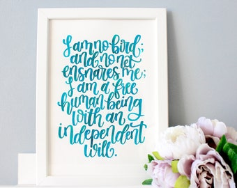 Jane Eyre Framed Quote, Hand Lettered Charlotte Bronte Quote, Literary Wall Art, Literary Gift, Book Quote, Literary Prints, Framed Word Art