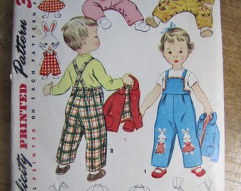 Child's Overall's Jacket and Hat  Size 2 Simplicity 4417 Vintage