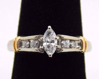 14K Two-Tone White and Yellow Gold Marquise .65 Carat  Solitaire with Accents Diamond Engagement Wedding Ring