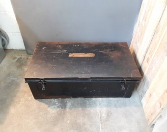 Vintage Industrial metal military storage Trunk / Coffee Table